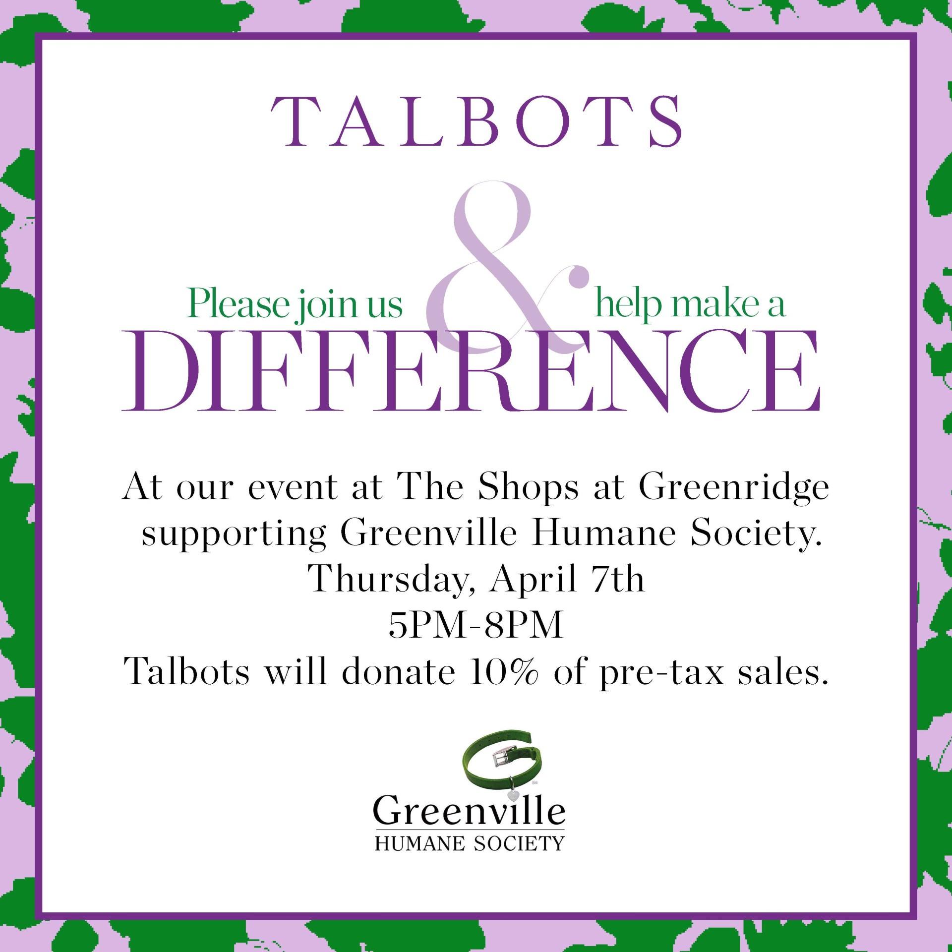 talbots fundraising event greenville humane society greenville sc
